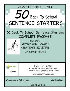 50  BACK TO SCHOOL sentence starter cover