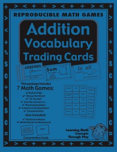 Addition Vocabulary Trading Cards