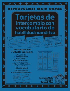 Tarjetas de intercambio con vocabulario de habilidad numérica - Spanish Math Games, Activities and Lesson Plans