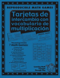Multiplicación Tarjetas de intercambio con vocabulario - Spanish Math Games, Activities and Lesson Plans
