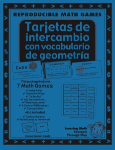 Geometría - Tarjetas de intercambio con vocabulario - Spanish Math Games, Activities and Lesson Plans