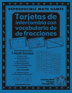 Fracciones - Tarjetas de intercambio con vocabulario - Spanish Math Games, Activities and Lesson Plans