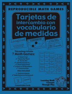 Medidas - Tarjetas de intercambio con vocabulario - Spanish Math Games, Activities and Lesson Plans