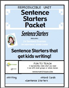 sentence starters packet cover screenshot
